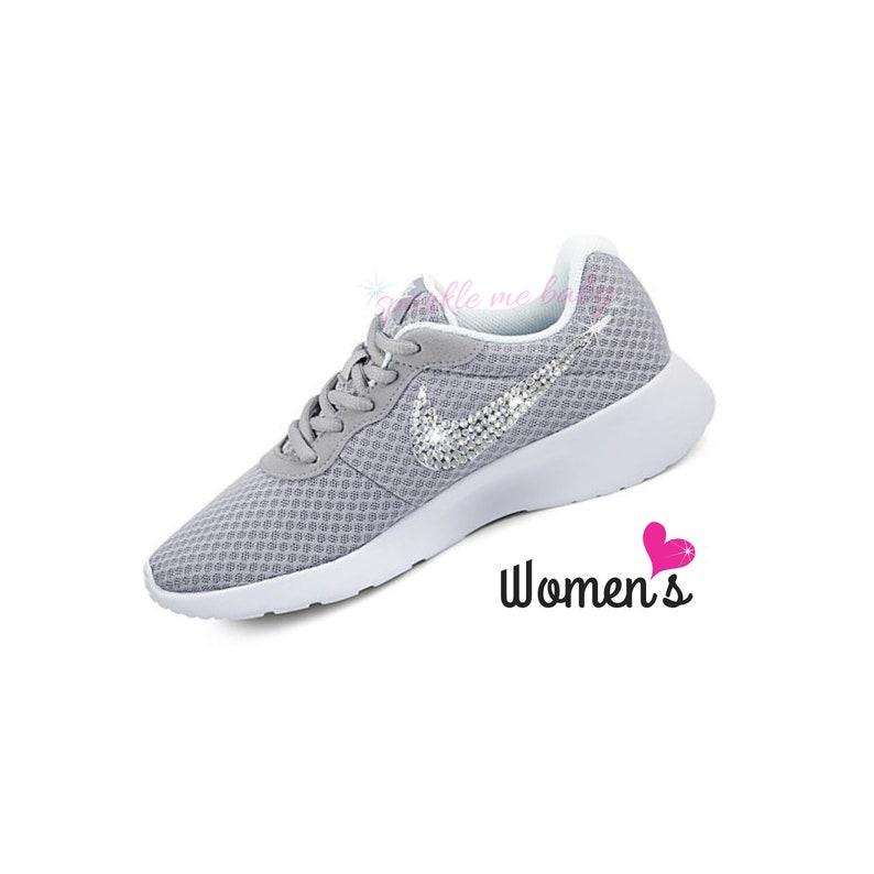 c9fdaac0da87 Nike Tanjun Women s in Gray Bedazzled Nike Blinged