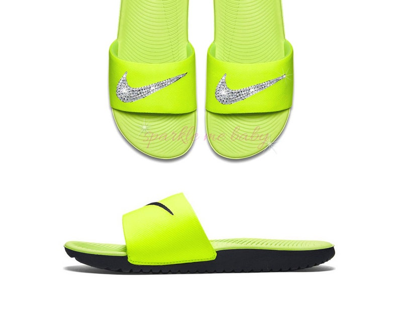 906c7d727cd0 Nike Slide Women s Volt Yellow Custom Nike Slides