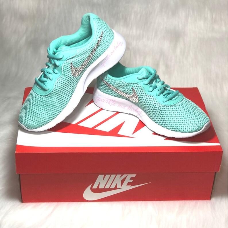 los angeles 21c29 52e22 Nike Tanjun Mint Girls Preschool Blinged Nikes Crystal   Etsy