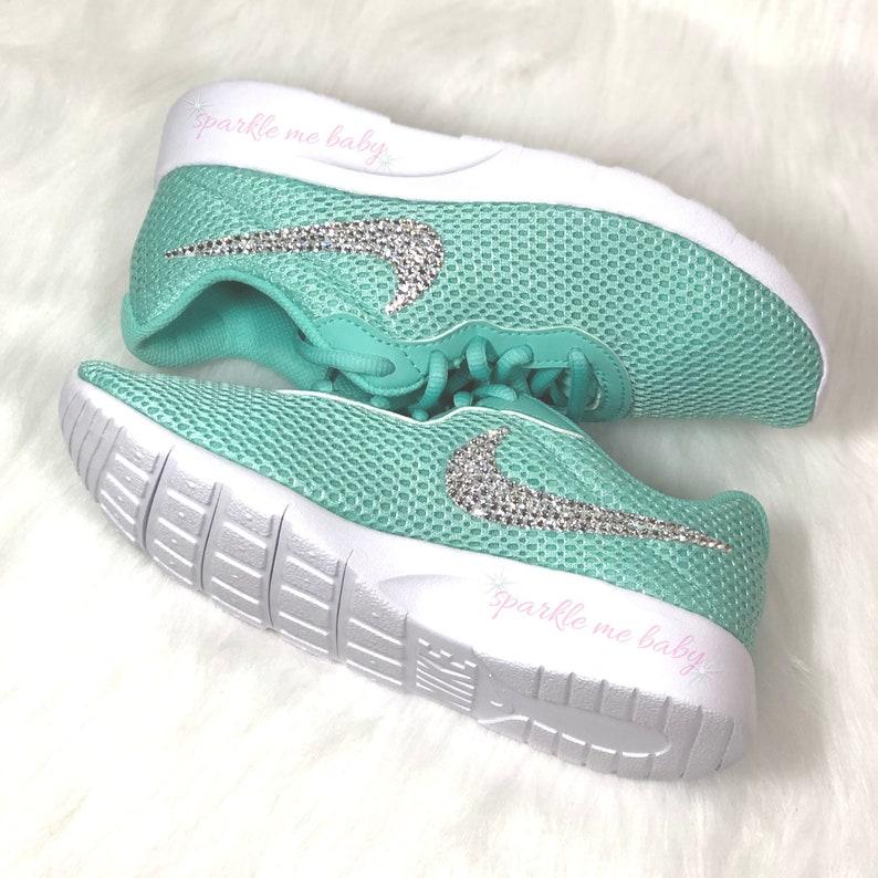 new style b32f3 65f27 Nike Tanjun Mint Big Girls Blinged Nikes Crystal Girls   Etsy
