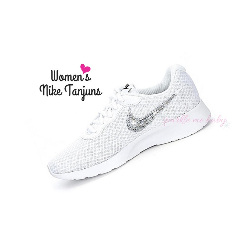4140613a35ad Nike Tanjun Women s in White Bedazzled Nike Blinged