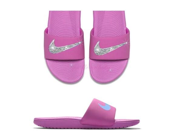 Nike Kawa Slide Women s Pink Swarovski Custom Slides  a72a8a96cf52