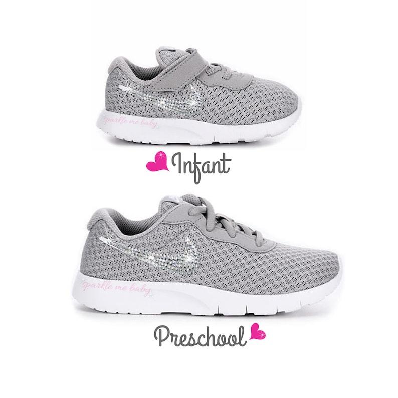 2b69b891607ce5 Nike Tanjun Grey Girls Blinged Nikes Crystal Girls Shoes