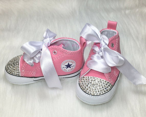 Custom Baby Converse with Bling and Satin Laces Soft Sole  e303ba45b