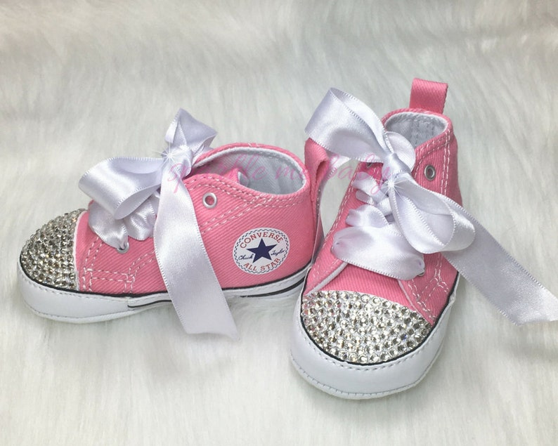 07cb0e90fa7e13 Custom Baby Converse with Bling and Satin Laces Soft Sole