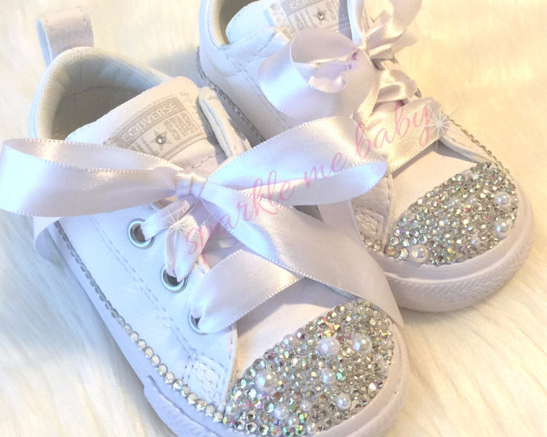 13bfa77cb2e7 Wedding Converse With Bling and Pearls Sizes 2c thru 6y