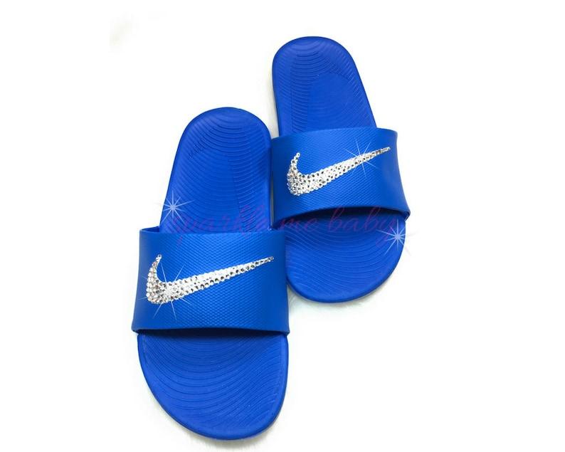 a3d67a8e65e Swarovski Women s Nike Slide Blue Custom Nike Slides