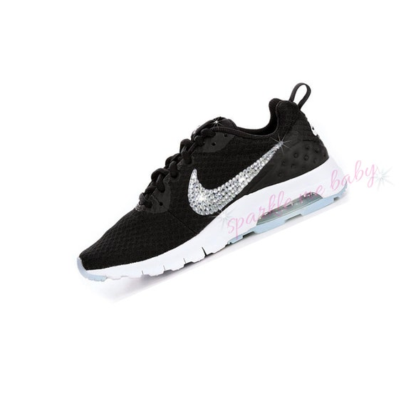 Women's Nike Air Max Motion ~ Black ~ Swarovski Bedazzled Trainers ~ Bling Gym Shoes ~ Customized by SparkleMeBaby2u
