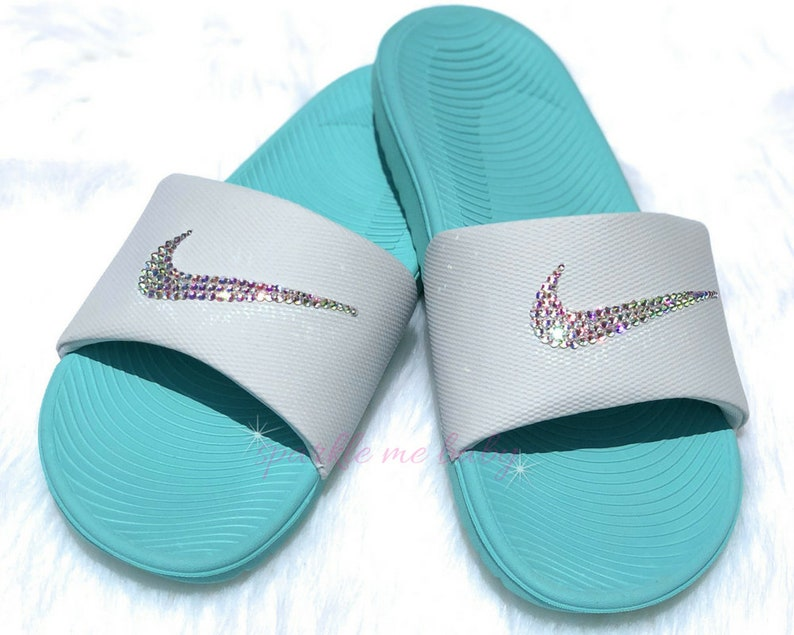 17da790ea8c4 Swarovski Women s Nike Slide Green White Custom Nike