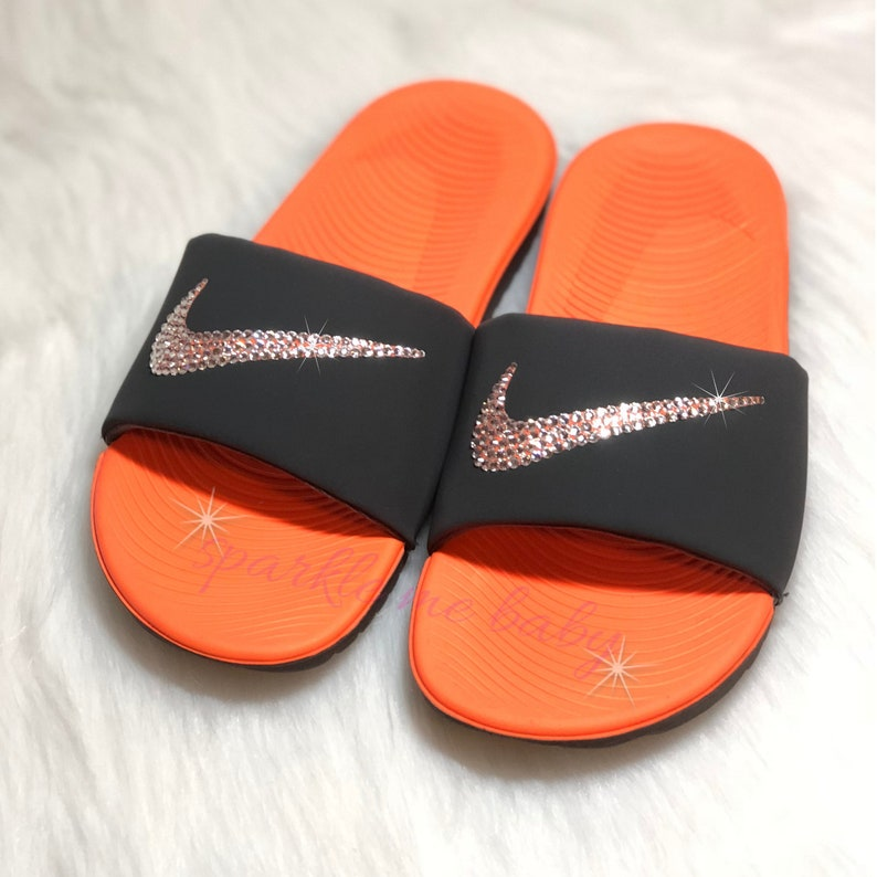 1097d53a43e2 Nike Slide Women s Black   Orange Custom Nike Slides