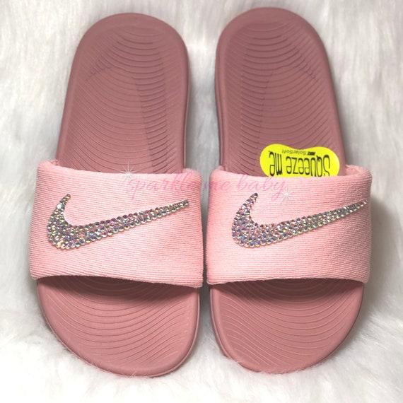 c8125d4820aa Nike Slide Kids Rust Pink Custom Nike Slides Bedazzled