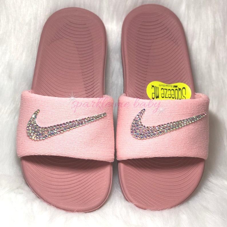 edf4168bb08 Nike Slide Kids Rust Pink Custom Nike Slides Bedazzled