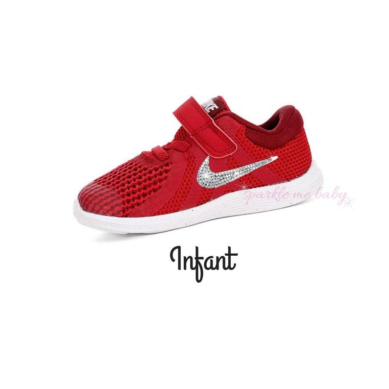 7284bca2a638 Red Nike Revolution 4 with Swarovski Crystal Option Infant
