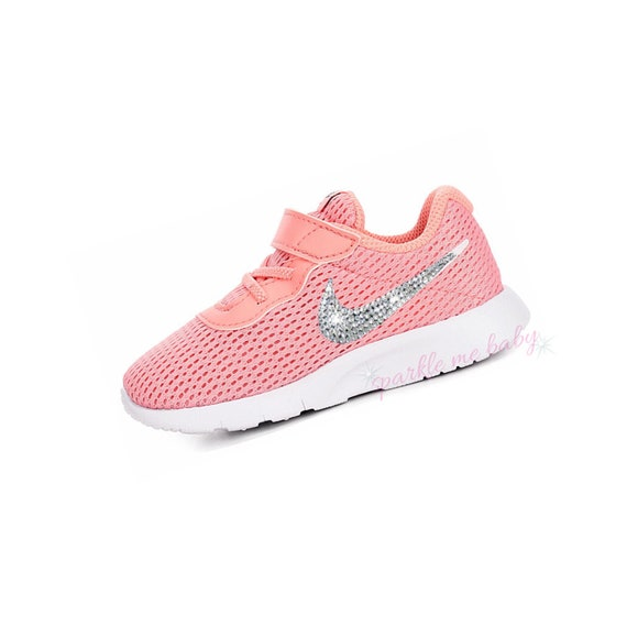 outlet store sale new arrive picked up Swarovski Nike Tanjun Infant and Toddler - Bleached Coral ~ Bedazzled Nikes  - Blinged Out Crystal Nikes - Customized by SparkleMeBaby2u