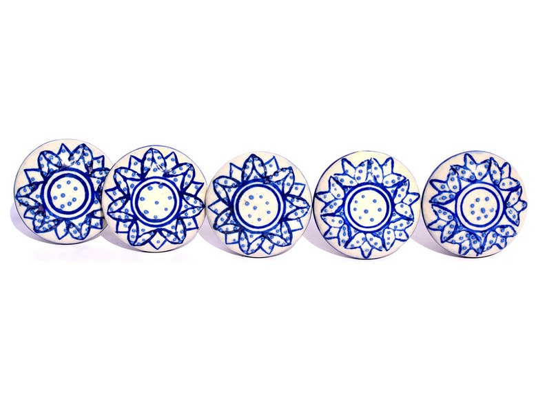 Blue Colour Embossing Flower Cupboard Cabinet Drawer Knob Set of 5 Pieces