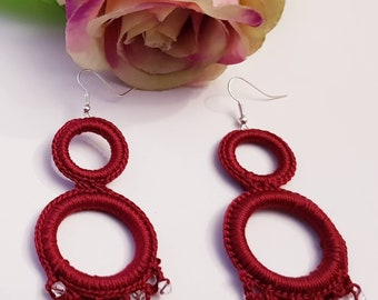 Handmade earrings made of crochet with beads available many models
