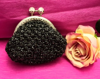 Coin purse made of crochet black color