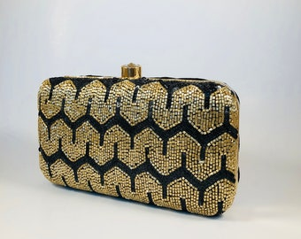 Black and gold handmade, embroidered clutch bags, purses, handbags, women bags,box clutch