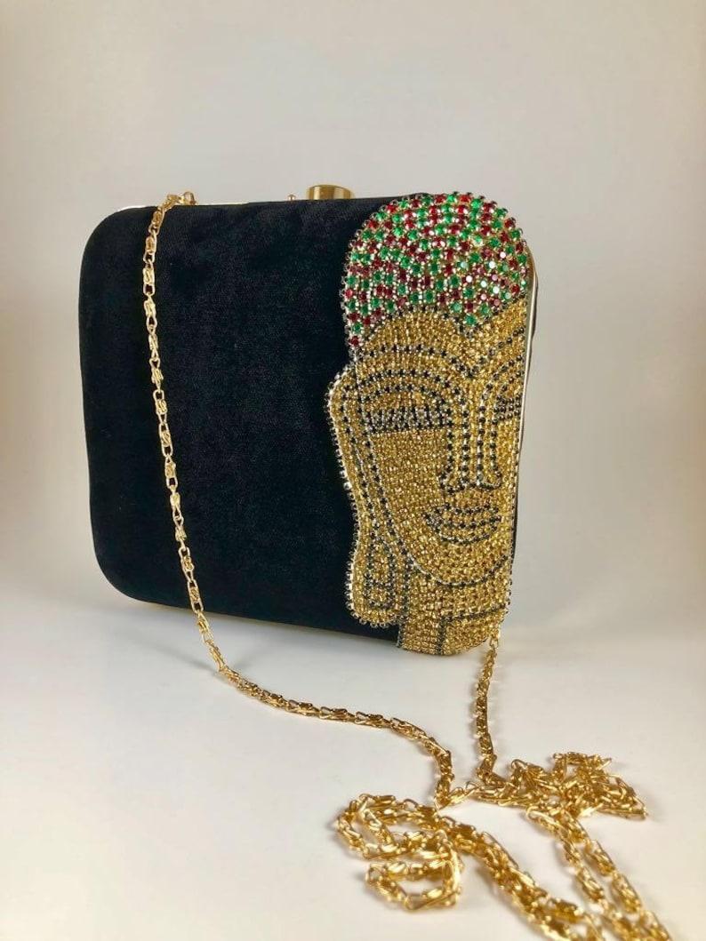 989390a6f1b5f Black Gold velvet Clutch Bag purse sling bag handbags evening bags Clutches