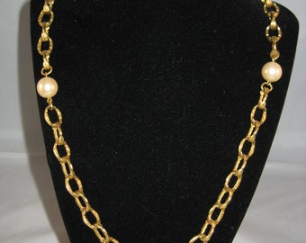 Richelieu Goldtone and Pearl Necklace