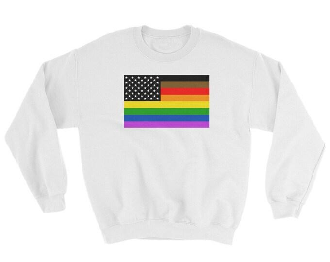 Gay Pride US Flag Unisex Sweatshirt