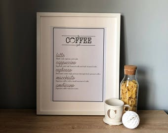 The coffee guide print - A3 or A4
