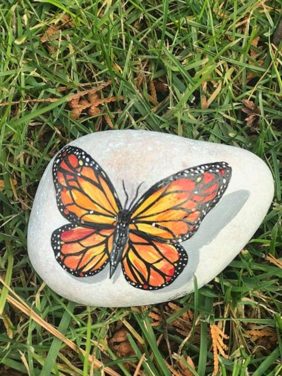 Painted Butterfly Rock Painted Rocks Custom Rocks Rock Art Etsy