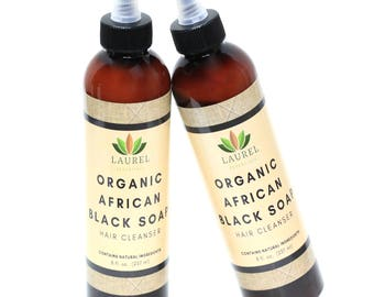 Organic African Black Soap Shampoo 8oz