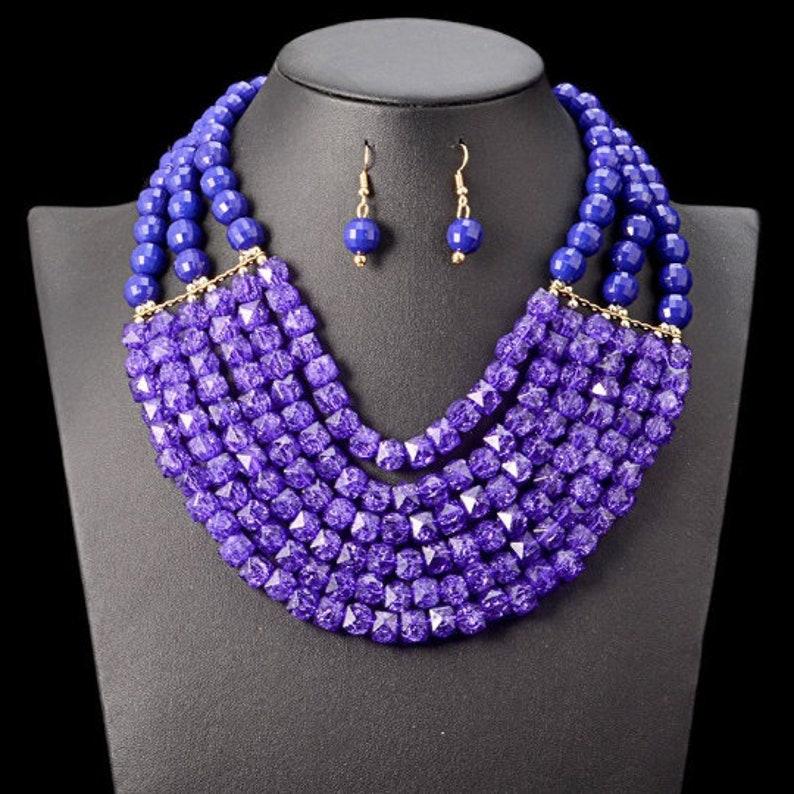 Multi-layered Beaded African Costume Jewelry Set