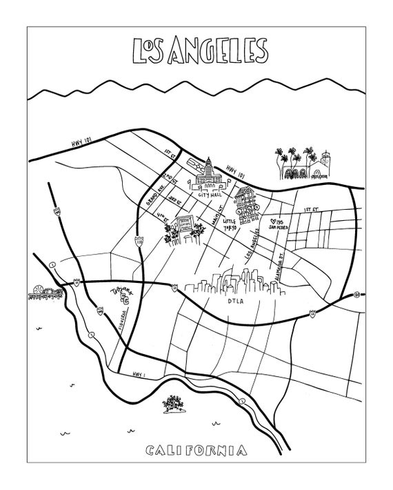 Custom Illustrated Los Angeles Map Hand Drawn Map Map Of Los