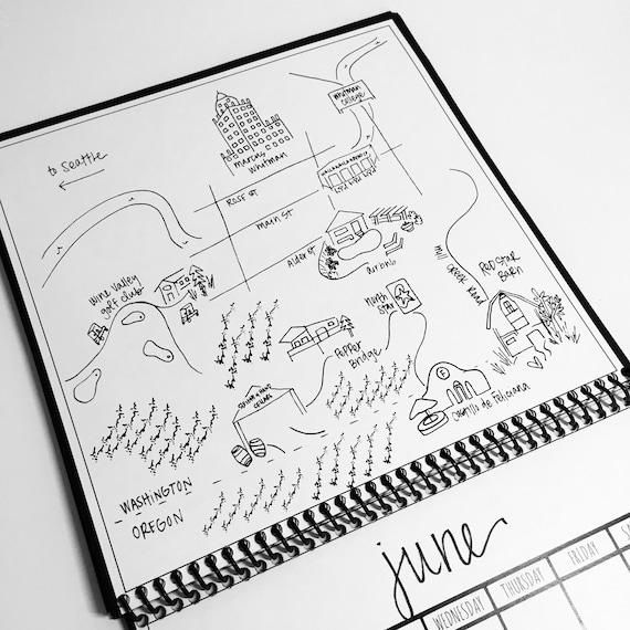 Custom Hand Drawn Calendar Custom Map Calendar Custom