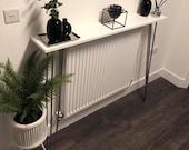 Narrow gloss hallway table console table- white high gloss