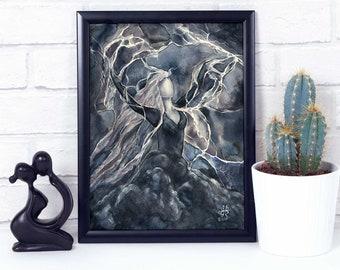 Storm Goddess Print / woman of power nature goddess art / dark sky thunderstorm watercolor art black & white