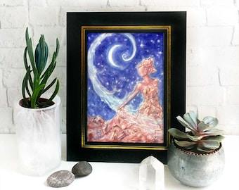 Crystal Goddess Altar Print - nature goddess art, crescent moon, healing goddess, pagan decor
