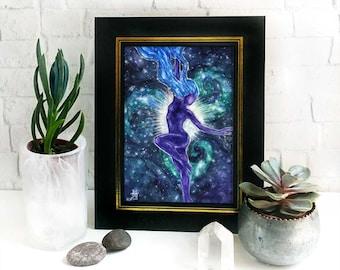 Star Goddess Altar Print / Celestial dancing purple maiden / spiral galaxy guardian / nature goddess art