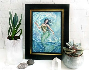 Water Mother Goddess Altar Print - nature goddess art, mermaid goddess fantasy art print, sea witch gift, pagan decor, blue ocean art print
