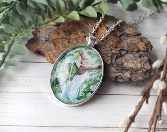 Trillium Goddess Wildflower Necklace /  wildflower art jewelry, hand crafted glittering nature goddess art pendant, witch pagan gift