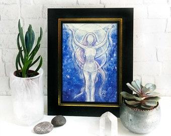 Moon Goddess Altar Print - drawing down the moon, nature goddess art, wiccan gift, pagan gift, blue moon magic