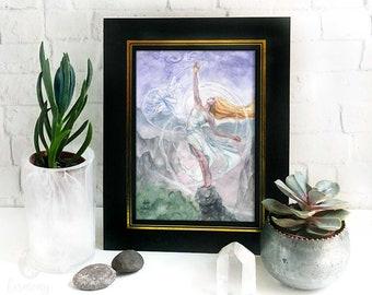 Air Mother Goddess Altar Print - nature goddess art, pagan decor, sky goddess fantasy art print, witchy gift, wiccan asthetic, ritual art