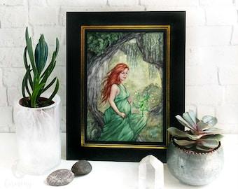 Earth Mother Goddess Altar Print - nature goddess art, pregnant earth goddess fantasy art print, pagan gift, druid artwork, elemental magic