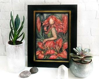 Wood Lily Wildflower Goddess Altar Print / Nature Goddess Art print / wild garden woodland magical art / elven pagan wiccan druid gift
