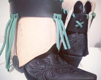 Black and turquoise boots