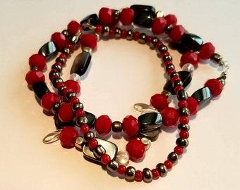 3 Stack Power Red Beaded Bracelets