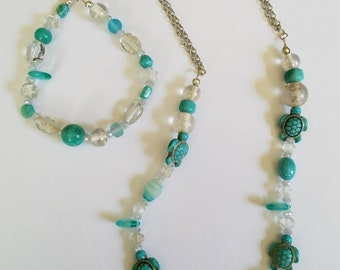 Sea Turtle Necklace and Bracelet Set