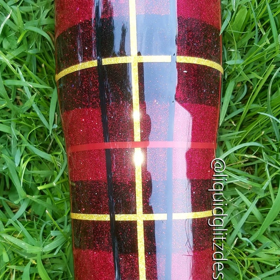 Red Plaid Stainless Steel Glitter Tumbler Buffalo Plaid Etsy