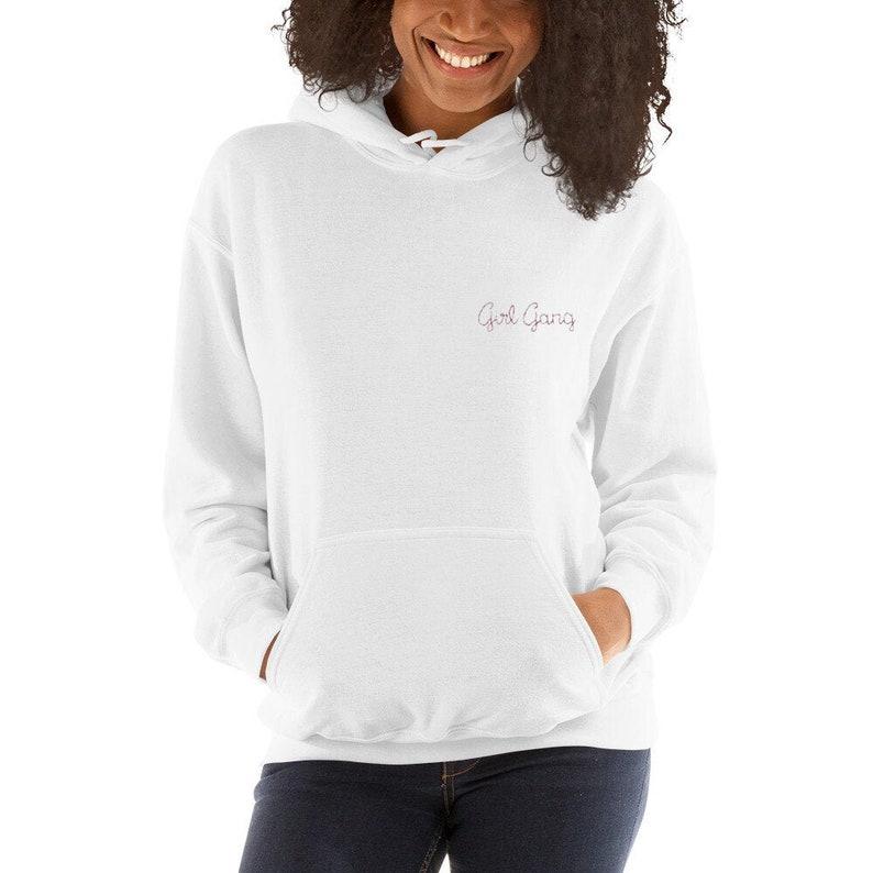 Ladies Sweaters Girl Power Girl Gang Hoodie Embroidered Feminist