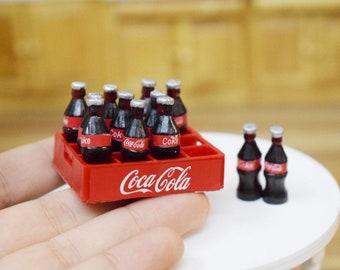 Lot 6 pcs coke coca cola dollhouse miniature fridge magnets bottles drink gift