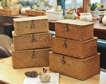 woven seagrass baskets with handles decorative storage boxes.htm lidded basket etsy  lidded basket etsy