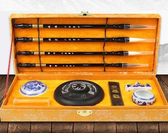Calligraphy bush pen set weasel hair brush with ink stone