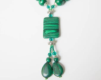 Malachite Pendant Dangle Necklace, Green Gemstone Multi Strand Statement Necklace, Chunky Necklace, malachite necklace
